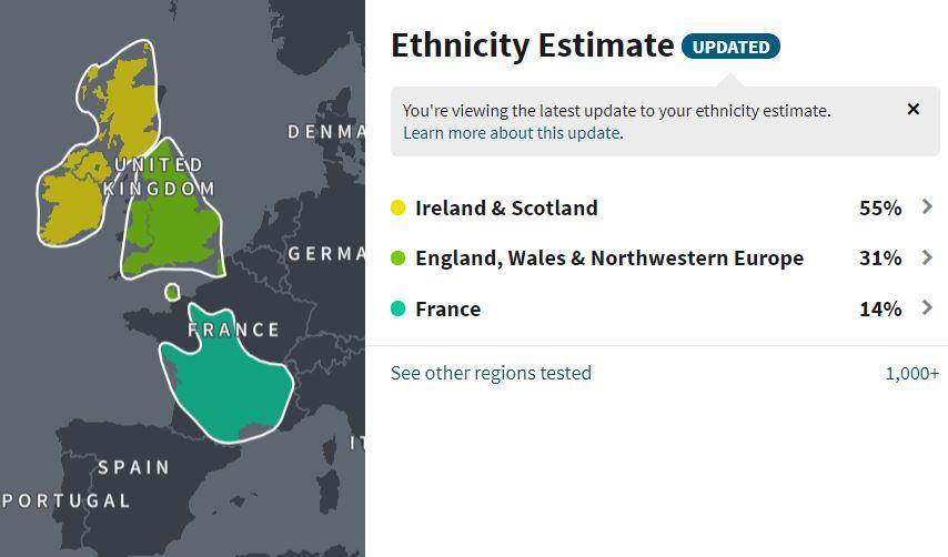 Origines ethniques - Ancestry DNA
