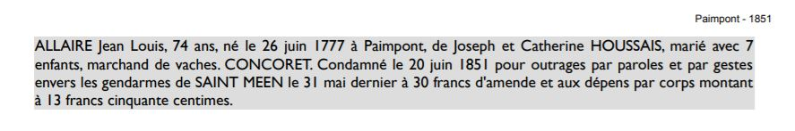 Condamnation de Jean-Louis Allaire en 1851